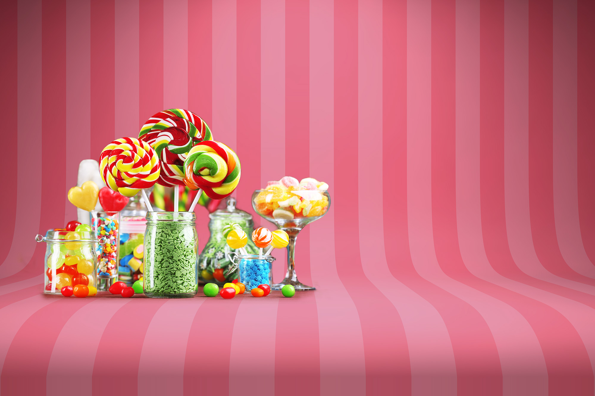 striped background with candy