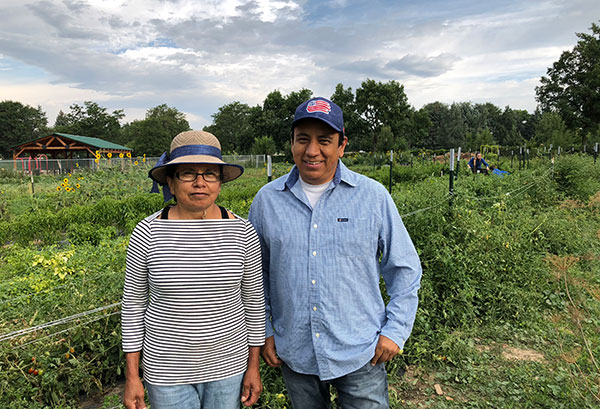 Jose and Angelina Mendez volunteer in the YMCA Food Project Farm