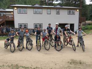 group of bikers at camp