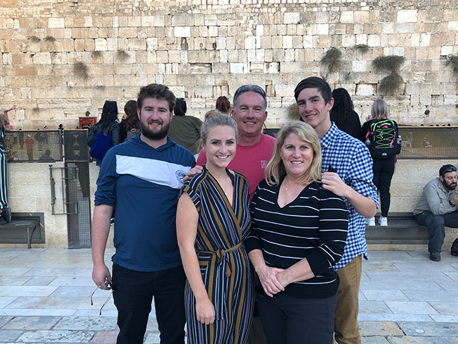 The Coker family visits the Western Wall in the Old City of Jerusalem