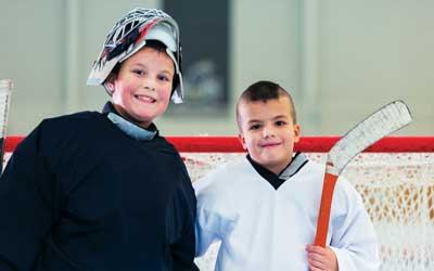 boys at YMCA hockey camp